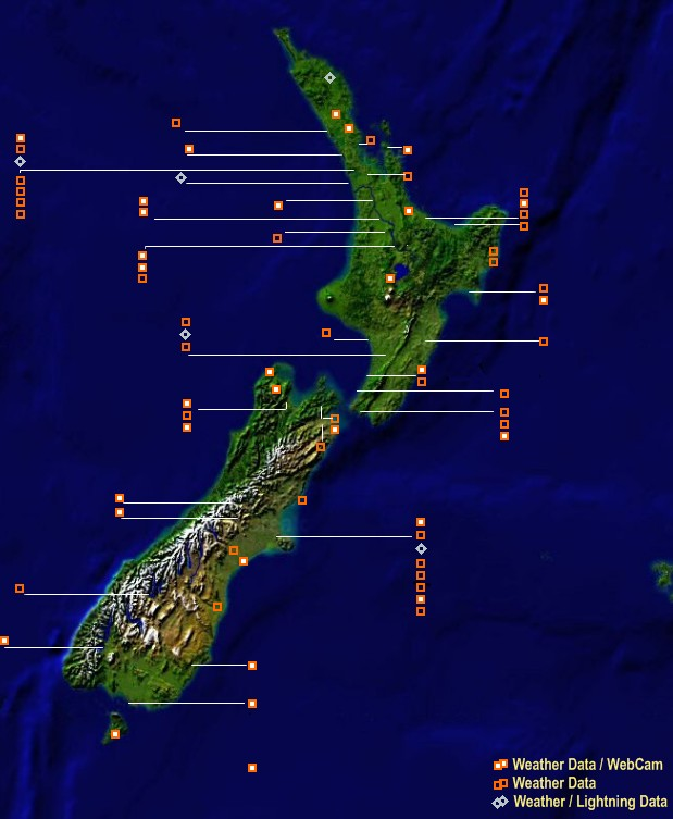 Mesomap of New Zealand Local Weather Network Stations